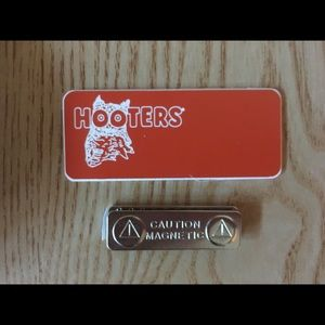 Lot 8 Hooters name tags black pouches shorts